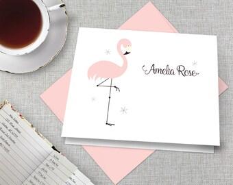 Personalized Flamingo Stationery / Personalized Flamingo Stationary Set / Pink Flamingo Note Cards / Florida Flamingo Thank You Cards