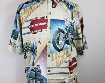 Harley Davidson Medium Art Deco Camp Shirt Vintage Aloha C02