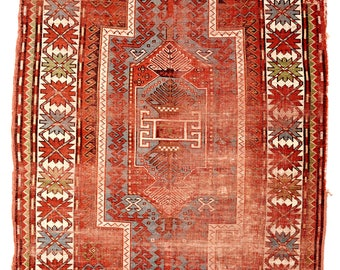 Antique Caucasian Kazak Rug. Best Price Guarantee- Bright natural color- Handknotted Pure Wool