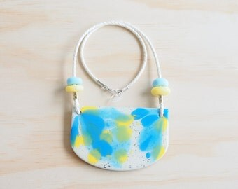 Resin Necklace | Wearable Art | Handmade | Calm Blue & Yellow