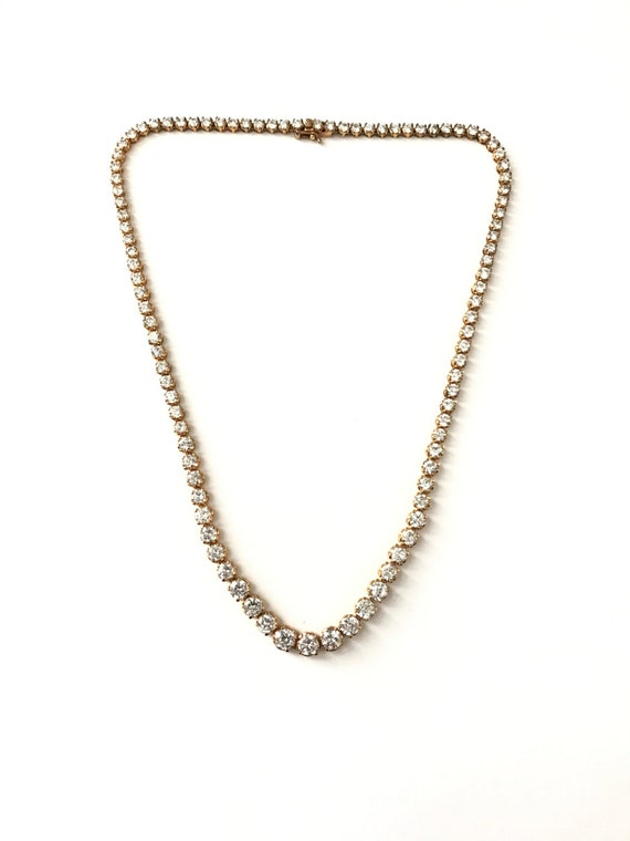 Vintage Gold Over Sterling Silver Graduated Cz Tennis Necklace