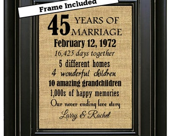 FRAMED 45th Anniversary Gift/45 Year Anniversary Gift/45 years of marriage/Anniversary Print/Gift for Parents/45th Wedding Anniversary gift