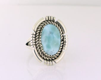 Ray Begay Navajo Ring Larimar in Sterling silver, Size 7.75 - SS10081