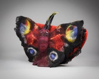 Butterfly clutch / Clutch with silk  / Felt bag /Wool felted bag / Purse/ Handbag felt /  Nuno felt/ Free shipping.