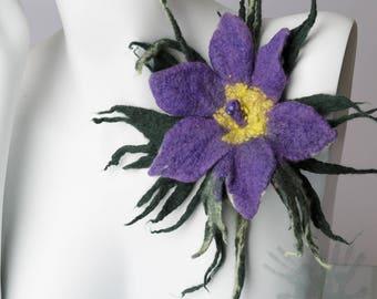 Felted Brooch / South Dakota state flower  / Pasque / Woman Accessories  / Art Brooch / Felt Brooch / Wool flower/ Free shipping.