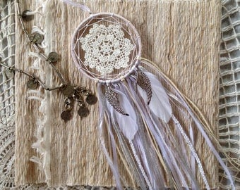 "Dreamcatcher ~ Angel Kisses | 5"" White Crochet Doily Dream Catcher with Angel Wings 