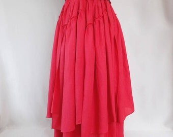 Maxi skirt. Red linen. Boho skirt.Pleated Skirt.Многослойная юбка в пол ,