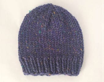 Chunky Knit Beanie, Hand Knit Hat - Periwinkle Tweed (Adult)