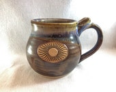 Stoneware pottery mug with thumb rest and sun stamp, copper brown and light blue glaze (XL 16 oz)