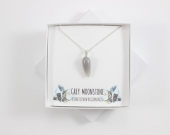 Grey Moonstone Small Necklace, Moonstone Necklace, Moonstone Pendant, Moonstone Jewelry, Moonstone Jewellery, New Beginnings Necklace