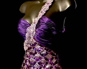 Purple and Silver Sequin Mermaid Gown      VG276