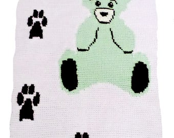 PDF Color Chart Graph of Teddy Bear Footprint Design for Single crochet, Tunisian Crochet, Knitting, Baby Blanket, Pattern Digital Download