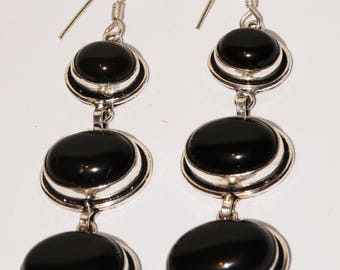 Huge 925 Sterling Silver Triple Black Onyx Stone Earrings.