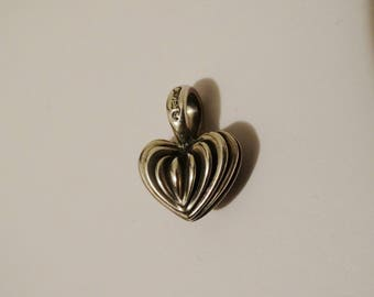 Lagos Caviar Signed 925 Sterling Silver HEAVY Heart Pendant.