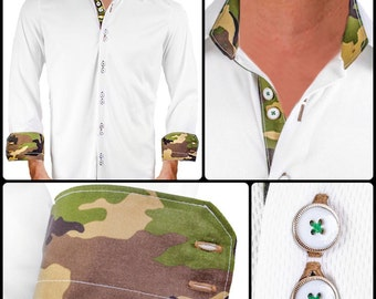 White Camo Moisture Wicking Dress Shirt - Made in USA
