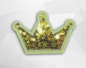 Gold Crown Sequin Iron on Patch (M) - SequinGold Crown,Glitter Applique Iron on Patch - Size 5.5x8.2 cm