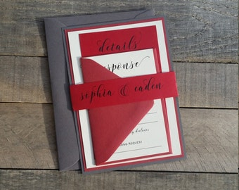 Red Wedding Invitations, Grey and Scarlet Red, Calligraphy Wedding Invitations, Modern Wedding Invitations, S022-Sophia