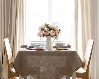 Square tablecloth for round table made of natural linen - Wedding tablecloth in many sizes