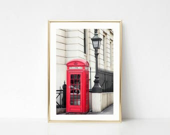 London Wall Prints, Red Telephone Booth, Large Art, Travel Photography, Office Decor, London Prints