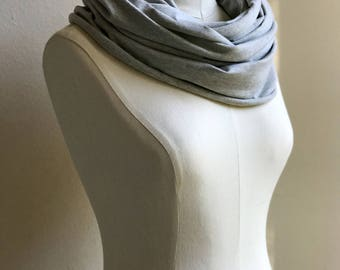 UPF 50 Infinity Scarf / Sun Cover / Sun Protection / UVA & UVB Protection / Lightweight Stretch Infinity Scarf / Ava / Heather Gray Scarf