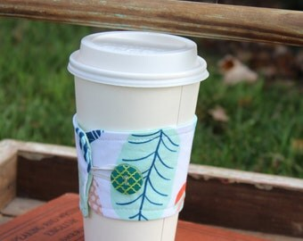 Resuable Coffee Cup Sleeve, Coffee Cup Cozy, Feather Fabric, Cup Cozy, Cup Sleeve, Ready to Ship