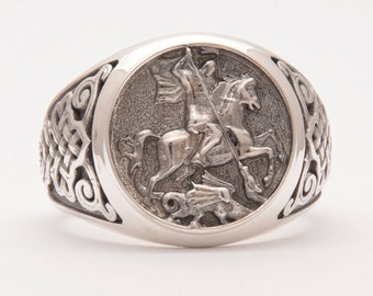 Silver 925 Signet Ring, Mens Signet Ring, Saint George Ring, Sovereign Ring, Bravery Military Knight, Silver Dragon Ring, Mens Ring