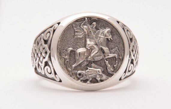 silver ring signet ring sovereign ring ring