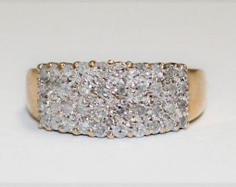 Vintage 10k Yellow Gold Diamond Cluster Ring Size 7
