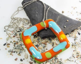 NEW SPRING COLLECTION/Colorfull lime turquoise et orange necklace set/small black ball chain