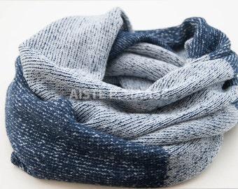 Merino cashmere infinity scarf, Loop shawl, Merino scarf, Knitted blue scarf, Merino snood
