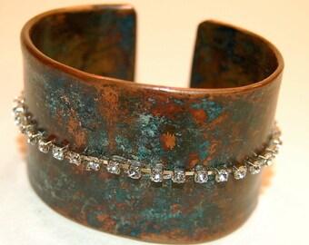 Copper cuff patina blue rhinestone bracelet