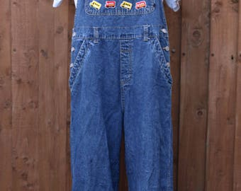 Long Denim Dungarees with Bus Patches XL