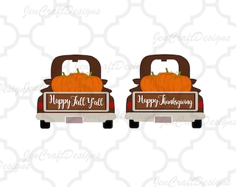 Fall Pumpkins Antique Truck SVG Vintage truck SVG classic truck svg cut File, DXF, pdf, eps, png for Silhouette, Cricut Digital Cut Files