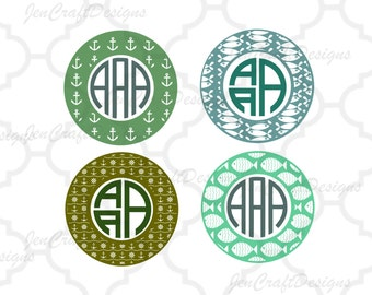 Nautical monogram frames SVG cuttable file, Instant Download SVG, Dxf, Eps,png Silhouette and Cricut Design Space.