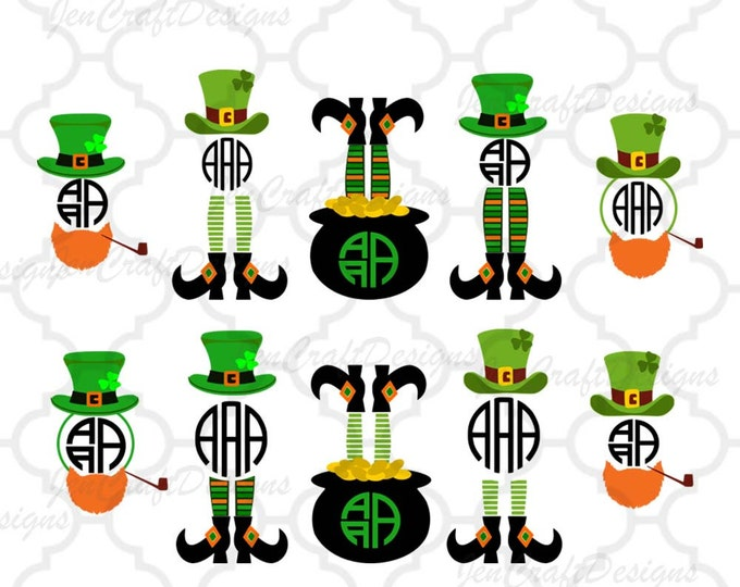 Featured listing image: Leprechaun Legs SVG Monogram Cuttable Design, St Paddy's Day, St. Patrick's Day Monogram SVG Cut Design,svg,dxf,png Silhouette & Cricut