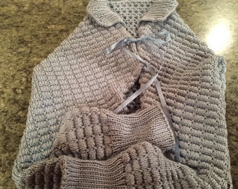 Knit Bed Jacket ShawlWith Collar & Ties - Light Country Blue