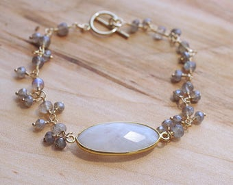 Moonstone and Labradorite Cluster Bracelet