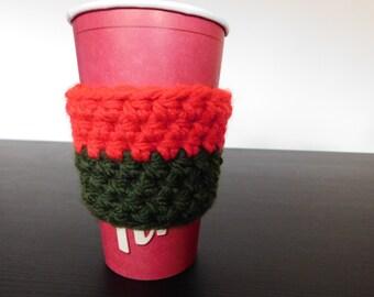Red and Green Cup Sleeve // Crochet Coffee Cup Sleeve // Mug Cozy // Christmas Cup Sleeve // Stocking Stuffer