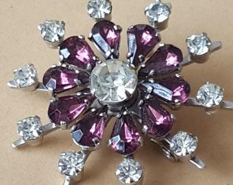 Vintage 1950s  White Purple Amethyst Diamante Flower Brooch