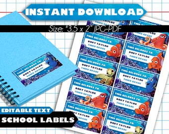 Finding Dory Nemo Back to School Name Labels - EDITABLE TEXT- Printable School Labels - Back to School Stickers - Back to School Tags