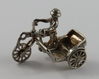 Man Riding Bicycle With Sidecar Sterling Silver Vintage Charm For Bracelet