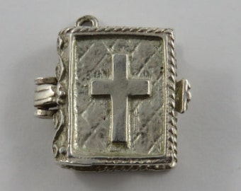 Bible With Enamel Woman Praying Inside Mechanical Sterling Silver Vintage Charm For Bracelet