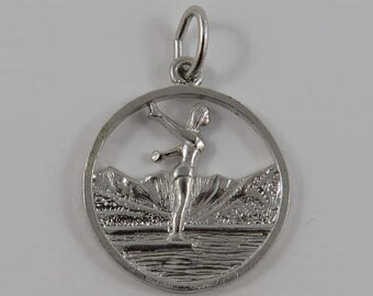 Fairmont B.C. Water Skier Sterling Silver Vintage Charm For Bracelet