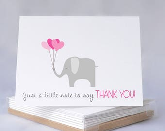 Baby Shower Thank You Card Set - Just A Little Note To say Thank You - Baby Girl, Thank You Cards, Baby Shower Thank You Cards