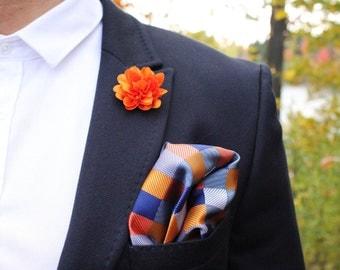 Orange pocket square. Pocket Square. Pocket squares. Silk pocket square. Handkerchief. Hankie. Groom pocket square. Gift for him.
