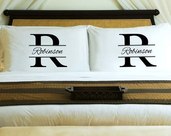 Personalized Couples Pillow Case Set - His and Hers - Stamped Monogram - Couples Gift