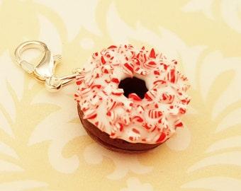 Candy Cane Donut Charm - Polymer Clay Donut - Miniature Food Jewelry-Polymer Clay Christmas- Polymer Clay Doughnut Charm-Christmas FoodCharm