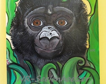 GORILLA CHILD on wood 59x42 cm