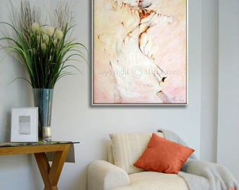 Dancer Figure, Dance Painting, Abstract Canvas Art, Bedroom Wall Art, Living Room Painting, White Decor, Pink Painting, Pink Abstract Art