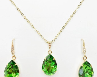 Emerald Green Swarovski Wedding Jewelry Set Green Crystal Pendant Emerald Crystal Drops Bridesmaid Gift Mother of the Bride Thankyou Gift
